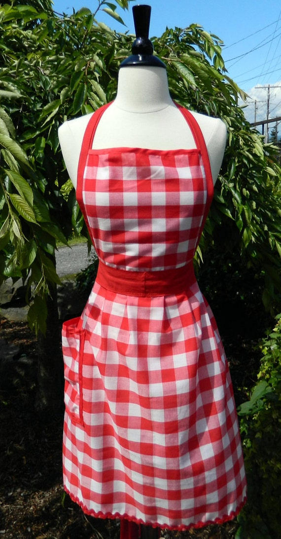 Womens Up-cycled Apron - Red Gingham Dorothy Apron