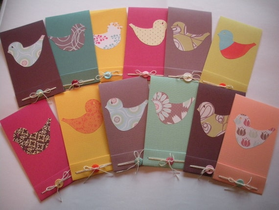 Bird Cards Party Set, 6 Blank Cards, 6 Matchbook Style Notebooks with Buttons, Custom, Made to Order,Party Favor Set