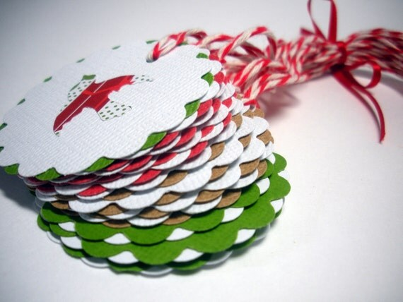 White Christmas Gift Tags, Modern, Bright, Pattern, Birds, Set of 15