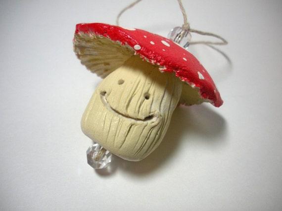 On Sale, Christmas in July, Cute Mushroom Ornament, Whimsical Woodland Christmas, Enchanted Christmas, Smiling Mushroom, Kawaii Mushroom