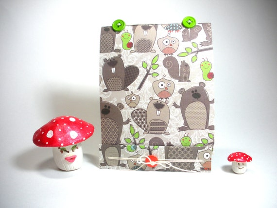 Recycled Jotter.  Woodland Animals Notebook Mini  Notebook