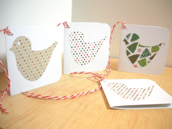 Christmas Bird Gift Tags, Set of 4, 3x3 Mini  Cards, White Tags, Folk Christmas, Tags with Twine,