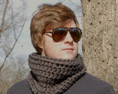 Titanium Grey Cowl, Wool Blend Crochet Neck Warmer, Winter Accessories READY TO SHIP