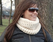 Winter White Crochet Wool Blend Neck Warmer, Winter Ski Accessories