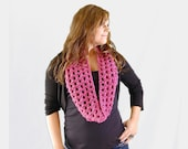 Raspberry Pink Crochet Infinity Scarf from Midwest Crochet, Fall Fashion Accessories