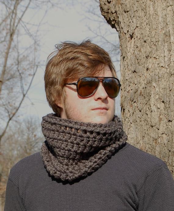 Titanium Grey Cowl, Wool Blend Crochet Neck Warmer, Winter Accessories READY TO SHIP