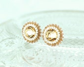 Bridal bridesmaids stud earrings - cream ivory tan beige swarovski crystal delicate jewelry - wedding stud earrings unique gift for her