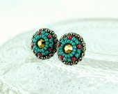 Green red stud earrings - turquoise green stud earrings - red coral stud earrings - delicate tiny gold studs - unique earrings gift for her