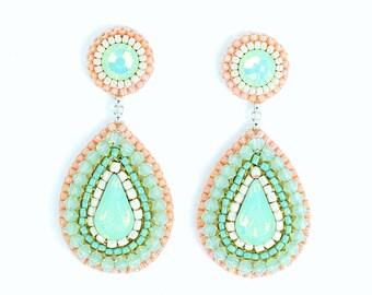 Mint peach earrings | mint coral pink chandelier earrings | unique bridal earrings | bridesmaid gift | beach wedding cocktail earrings