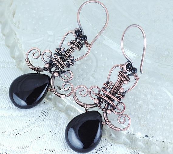 Chandelier earrings - copper dangle earrings - copper spiral swirls artisan jewelry - antique earrings unique gift - reserved for Kerrie