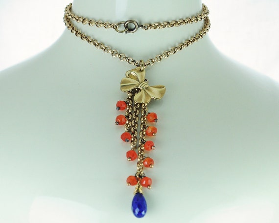 Gold bow pendant with beaded dangle - Carnelian Lapis lazuli Antique brass Pendant necklace