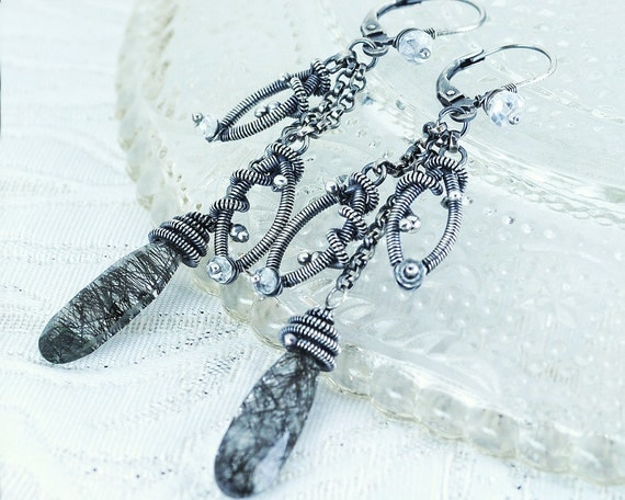 Antique silver crystal dangle earrings - black gray leaf long chain dangle earrings - earthy silver bridal wedding jewelry unique gift