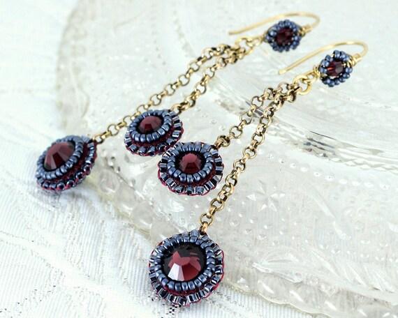 Burgundy earrings | maroon long drop earrings | delicate gold chain bridal dangle earrings | marsala wedding earrings | unique gift for her