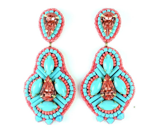 Turquoise coral dangle earrings statement jewelry - blue pink swarovski crystal chandelier earrings - cocktail jewelry unique gift