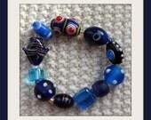 Vibrant Blue Glass Bead Bracelet