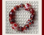 Oriental Reds Glass Bead Bracelet