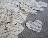 100 Paper Heart Confetti,  shabby chic wedding, wedding confetti, heart, dictionary confetti, heart confetti, biodegradable confetti #012