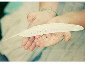 Personalized Rustic Wedding Favors . i love you feather . white feathers with words