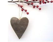 Rustic Heart Ornament . wood valentine heart wooden heart shaped ornaments . reclaimed wooden ornament for him