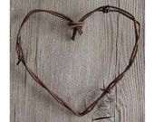 Simple Barbed Wire Heart . rustic wedding decor. barn wedding decor . barn wedding favors