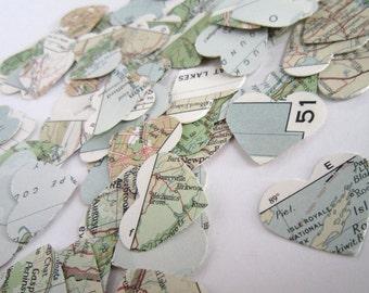 Map Confetti . map heart confetti . map wedding . vintage map . vintage atlas . destination wedding . world map confetti . atlas confetti