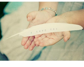 Personalized Rustic Wedding Favors . i love you feather . feather favors . white feathers with words . boho woodland favors