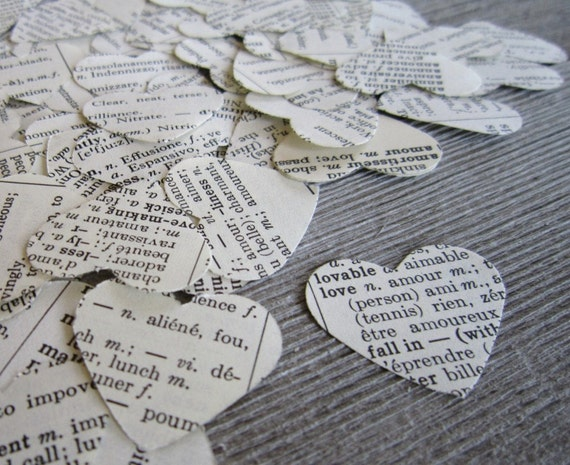 100 Paper Heart Confetti,  shabby chic wedding, wedding confetti, heart, dictionary confetti, heart confetti, biodegradable confetti #012