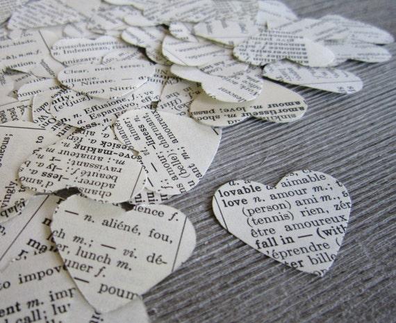 100 Paper Heart Confetti,  shabby chic wedding, wedding confetti, heart, dictionary confetti, heart confetti, biodegradable confetti