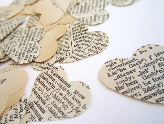 Wedding Decorations -150 hearts confetti - Wedding Confetti . paper heart confetti . vintage wedding confetti . dictionary confetti