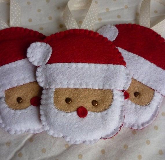Items Similar To Set Of 3 Handmade Felt Santa Ornaments On Etsy