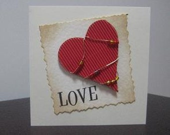 I Love You Wired and Beaded Heart Card for wedding,anniversary