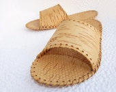 Amazing Natural birch bark slippers Men size