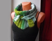 SUPERSALE% Crochet triangle scarf bactus.Neckwarmer,shawl,green shades. Unisex
