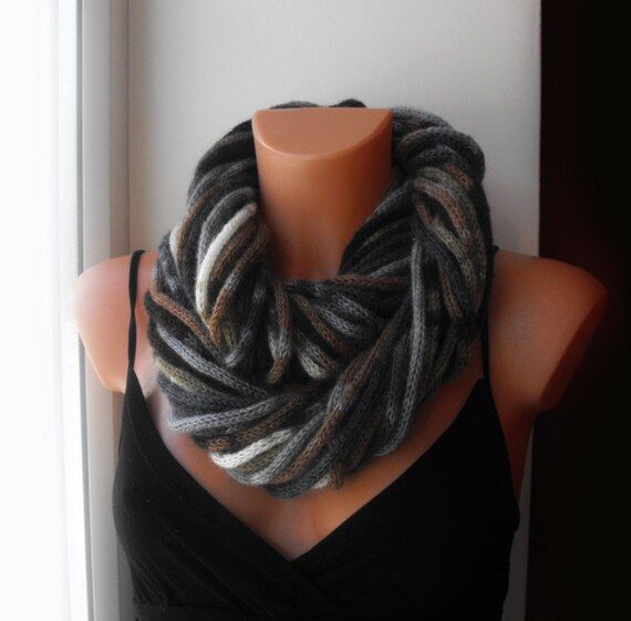 Infinity scarf. Rope loop scarf,neckwarmer,knitted,fashion.Grey brown.