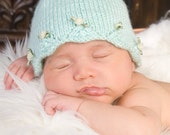 Scalloped Edge with Baby Rosettes Beanie - Made to Order - You Choose Colors