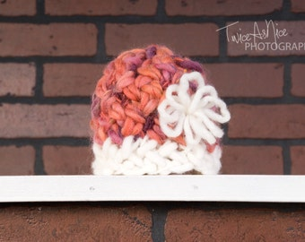 Wool Beanie with a Flower Accent - Made to Order