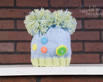 Cute as a Button Pom Pom Hat - Made to Order
