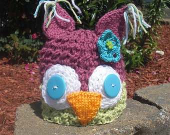 Owl Hat With or Without Flower - You Choose Colors