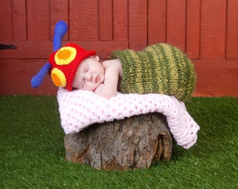 Newborn Caterpillar Beanie and Cocoon Set