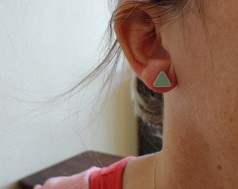 SALE - Seafoam Triangle Earrings