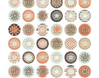 Flower bottle cap images, bottlecap images, one inch circles, royalty-free, digital collage sheet- Instant Download