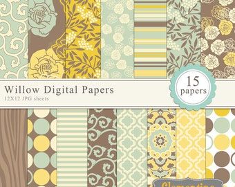 Willow digital papers, floral digital paper, royalty free commercial use- Instant Download