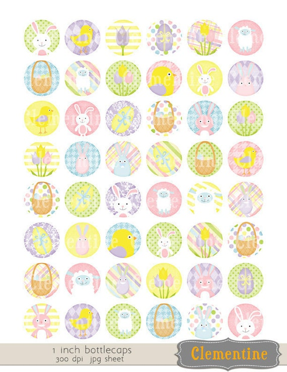 Easter bottle cap images, bottlecap images, one inch circles, royalty-free, digital collage sheet-bc120- Instant Download