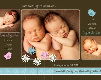TWINS Baby Announcement - three photo - digital file