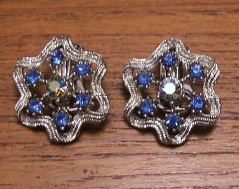 Gorgeous Vintage Blue Rhinestone and Silver Clip Earrings 1960s Wedding