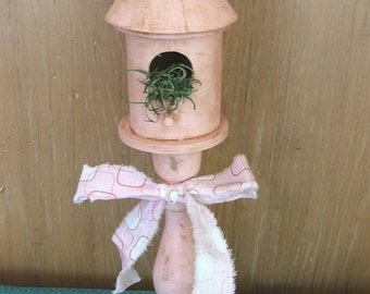 SALE - Pale Pink Ornamental Birdhouse - Shabby Chic, Rustic, Beach, Chippy Cottage, Girls Room
