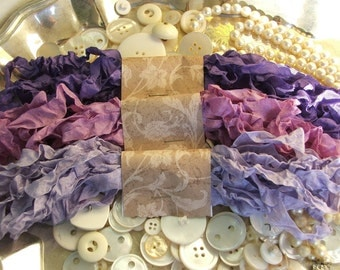 Gorgeous Crinkled Seam Binding Ribbon - Purple Haze Bundle - Rustic, Shabby Chic, Beach, Cottage, French Country, Wedding