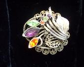 Multi colored vintage brooch