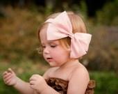 Pink Satin Bow - Crystal Center Hair Bow Headband-  Elastic Headband or Hair Clip, baby, girl's head band