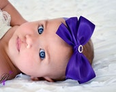 Purple Bow Sweet Satin Hair Bow - Baby Toddler Child Girls Headband or Clip Hairbow